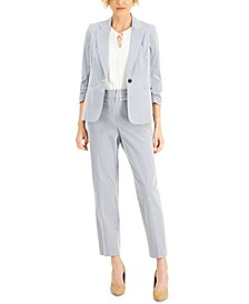 Striped Chambray Jacket, Tie-Neck Top &  Ankle-Length Pants