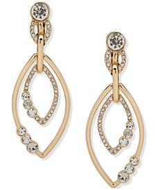 Gold-Tone Crystal Orbital Doorknocker Clip-On Drop Earrings