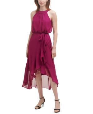 Chiffon Blouson High-Low Dress