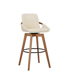 Baylor Swivel Wood Bar or Counter Stool in Faux Leather