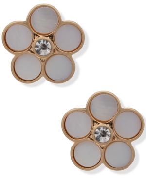 Gold-Tone Crystal & Stone Flower Stud Earrings