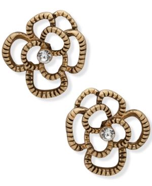 Gold-Tone Pave Open Flower Stud Earrings