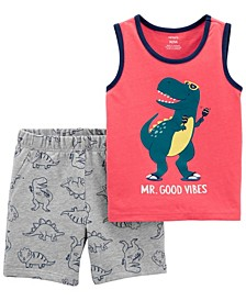 Toddler Boys Dinosaur Tank and Short, 2 Piece Set