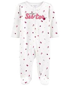 Baby Girls Little Sister 2-Way Zip Cotton Sleep Play