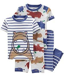 Toddler Boys Hippo Snug Fit Pajama, 4 Piece Set