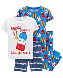 Baby Boys Baseball Snug Fit Pajama, 4 Piece Set