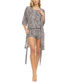 Dylan 3-Pc. Leopard-Print Travel Pajama Set
