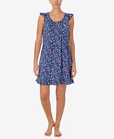 Floral-Print Flutter Sleeve Nightgown