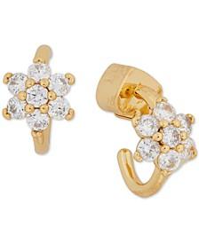 """Gold-Tone Small Crystal Forget-Me-Not Huggie Hoop Earrings, 0.5"""""""