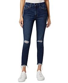 Destructed Raw-Hem Cropped Skinny Jeans