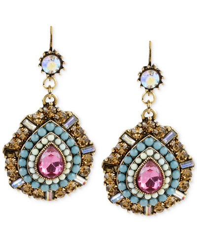 Betsey Johnson Gold-Tone Multi-Color Crystal Teardrop Earrings