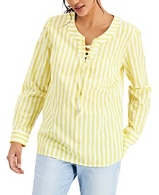 Cotton Lace-Up Top, Created for Macy's
