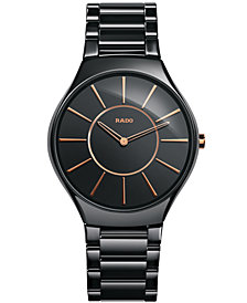 Rado Women's Swiss True Thinline Black High-Tech Ceramic Bracelet Watch 39mm R27741152