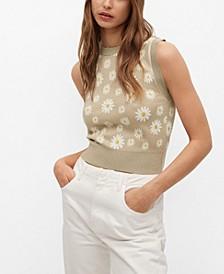 Floral-Print Knitted Vest