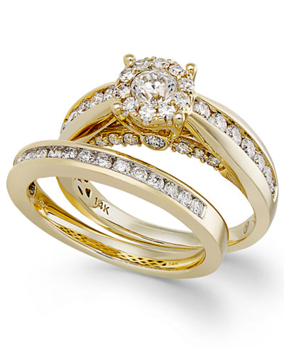 diamond ring set in 14k gold 1 13 ct tw - 14k Gold Wedding Ring Sets