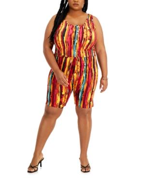Trendy Plus Size Printed Tank Top & Shorts Set