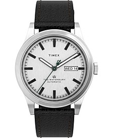 Men's Waterbury Traditional Automatic Black Leather Strap Watch 39mm