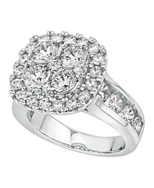 Diamond Cushion Halo Cluster Engagement Ring (4 ct. t.w.) in 14k White Gold