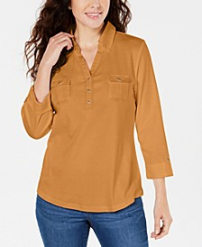 3/4-Sleeve Woven Shirt, Created for Macy's