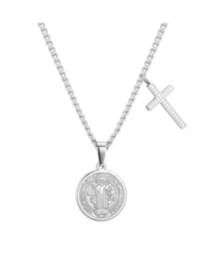 Stainless Steel and Black Crystal Saint Coin and Stationed Cross Pendant Necklace