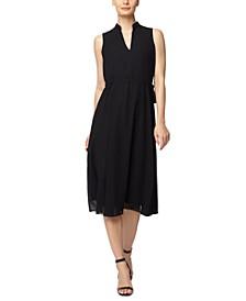 Split-Neckline Midi Dress