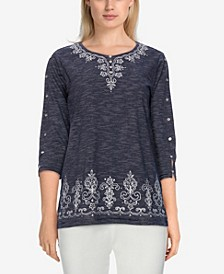 Plus Size Bryce Canyon Textured Embroidered Top