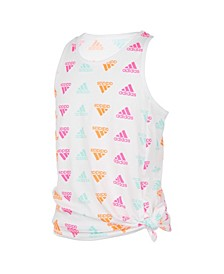 Big Girls All Over Print Sleeveless Print Tie Front Tank Top