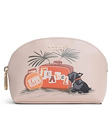 Lets Travel Medium Leather Cosmetic Pouch