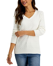 Cable-Knit V-Neck Cotton Sweater, Created for Macy's