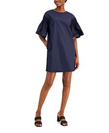 Solid Balloon-Sleeve Dress