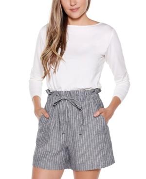 Black Label Striped Belted Shorts