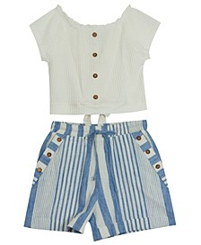Big Girls Stipe Rib Knit Shorts Set