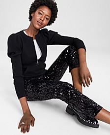 Puff-Sleeve Zip-Up Sweater, In Regular and Petites, Created for Macy's