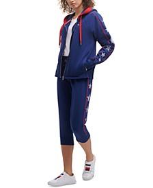 Women's Star-Print Hoodie & Cropped Jogger Pants