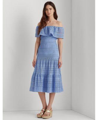 로렌 랄프로렌 Lauren Ralph Lauren Lace Off-the-Shoulder Dress,Aster Blue