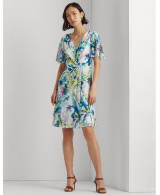 로렌 랄프로렌 Lauren Ralph Lauren Paisley Flutter-Sleeve Georgette Dress,Colonial Cream/blue/multi