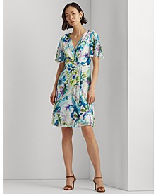 Paisley Flutter-Sleeve Georgette Dress