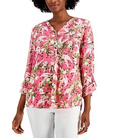 Petite Y-Neck Roll-Sleeve Top, Created for Macy's