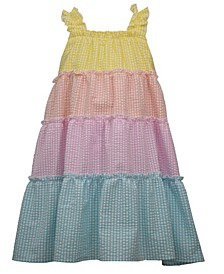 Toddler Girls Color Blocked Seersucker Sundress
