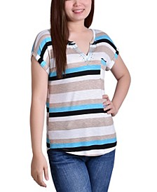 Petite Striped Extended Sleeve Top