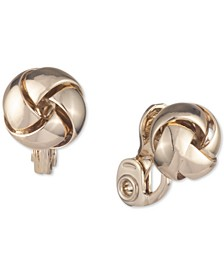 Knotted Button Clip On Earrings