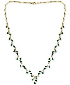 "EFFY® Emerald (6-1/2 ct. t.w.) & Diamond (7/8 ct. t.w.) Fancy 18"" Statement Necklace in 14k Gold"