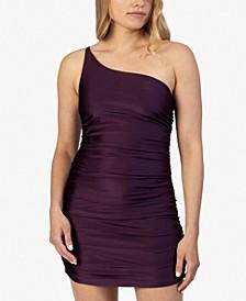 Juniors' Ruched One-Shoulder Dress