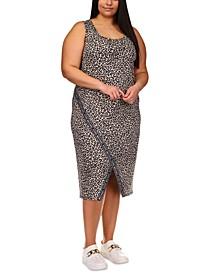 Plus Size Cheetah Print Sport Logo Tape Dress