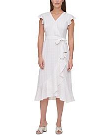 Check-Print Wrap Dress