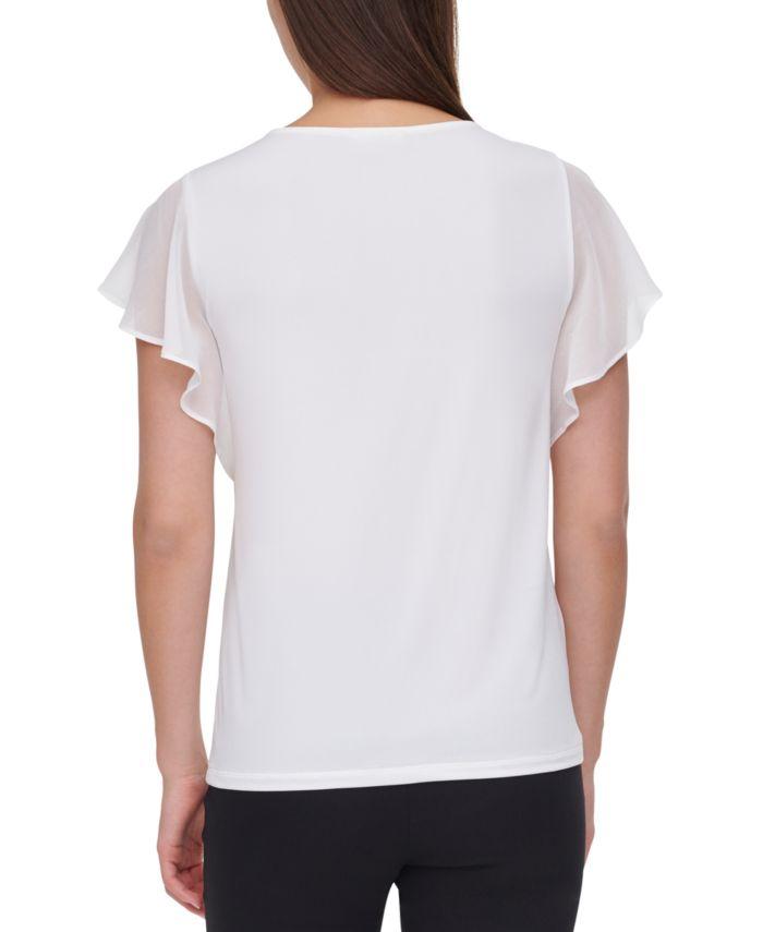 Calvin Klein Pintucked-Yoke Flutter Sleeve Top & Reviews - Tops - Women - Macy's