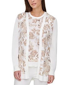 Printed-Front Open Cardigan