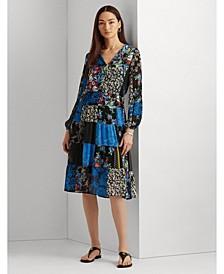 Petite Patchwork Georgette Long-Sleeve Dress