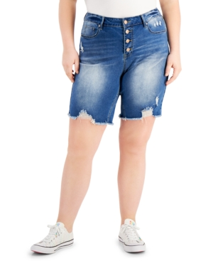 Trendy Plus Size Ripped Button-Fly Shorts