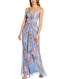 Metallic Floral Gown